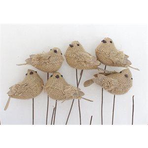 """Oiseaux jute 3"""" sur pic pqt.6"""