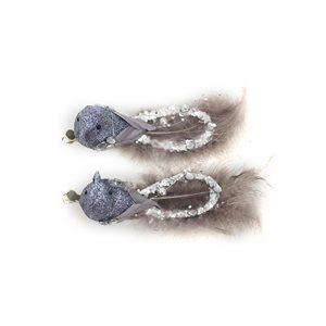 """Oiseaux à plume sur pince 6"""" pqt.2"""